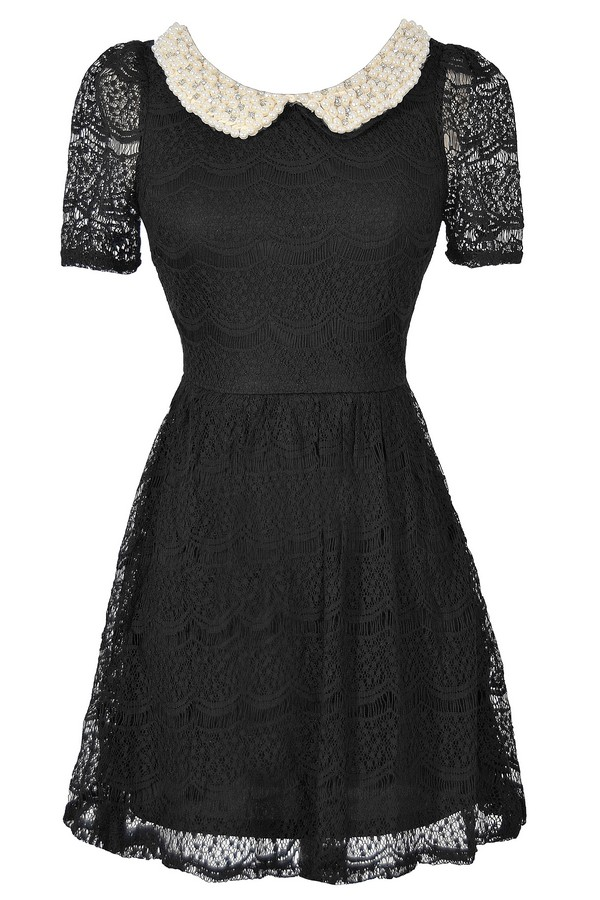 Pearl and Rhinestone Embellished Peter Pan Collar Lace Dress in Black
