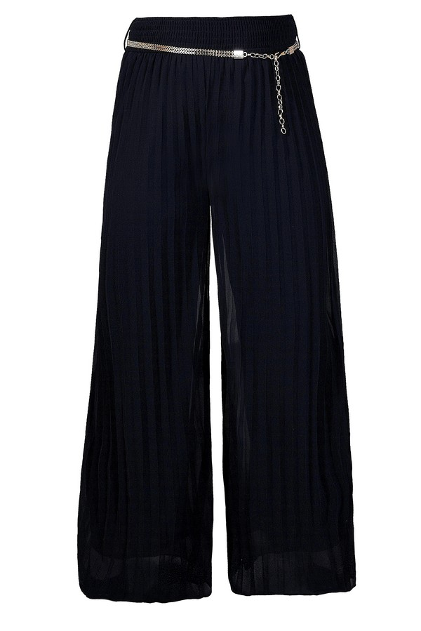 Chain Gang Belted Wide Leg Pleat Pants in Navy