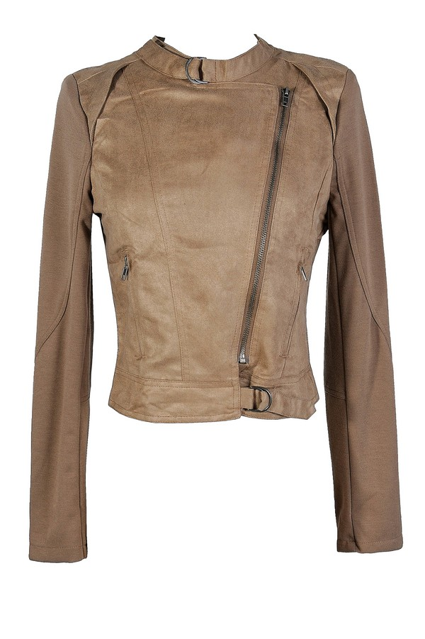 Easily Suede Faux Leather Moto Jacket in Taupe