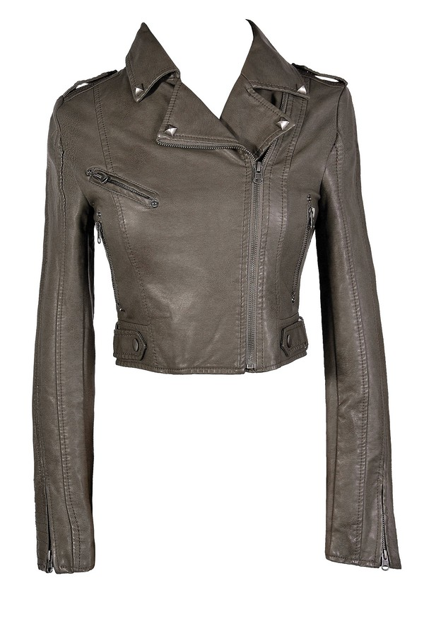 Bridget Vegan Leather Moto Jacket in Grey