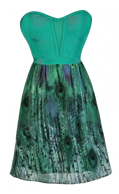 Jade Feather Print Dress, Jade Strapless Party Dress, Cute Summer Dress, Jade Tropical Dress, Tropical Print Dress