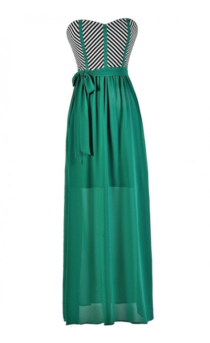 Jade Maxi Dress, Colorblock Stripe Maxi Dress, Summer Maxi Dress, Strapless Summer Maxi, Jade Green Maxi Dress