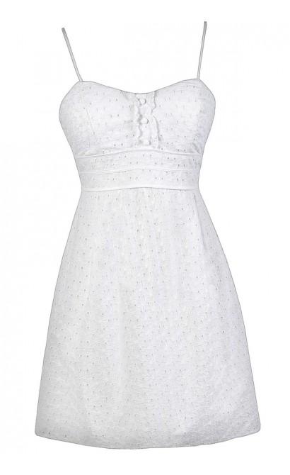 White Eyelet Dress, White Sundress, White Summer Dress, White Eyelet A-Line Dress, White Graduation Dress