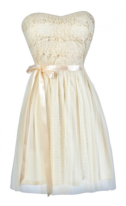 Cute Cream Dress, Cream A-Line Dress, Cream Tulle Dress, Cream Crochet Dress, Cream Rehearsal Dinner Dress, Cream Bridal Shower Dress, Cream A-Line Dress, Cream Tulle Dress