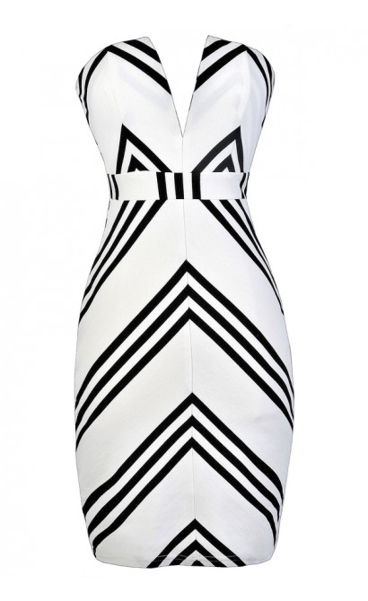 Black and White Stripe Dress, Nautical Stripe Strapless Dress, Black and White Stripe Pencil Dress, Nautical Stripe Summer Dress