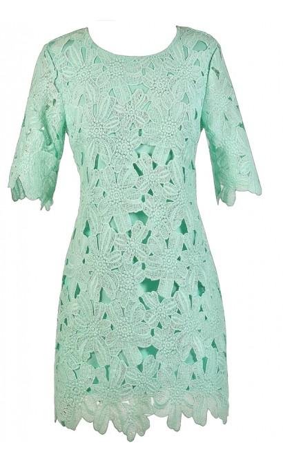 Mint Lace Dress, Mint Crochet Lace Dress, Mint Lace Sheath Dress, Mint Party Dress, Mint Oversized Lace Dress