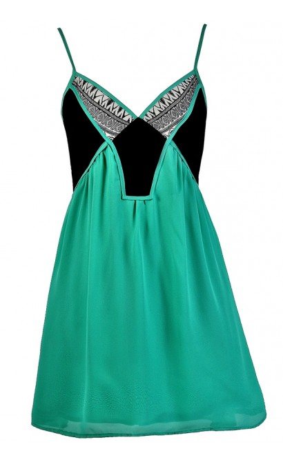 Cute Colorblock Dress, Colorblock Summer Dress, Colorblock Babydoll Dress, Cute Sundress, Green and Black Sundress, Green and Black Colorblock Dress