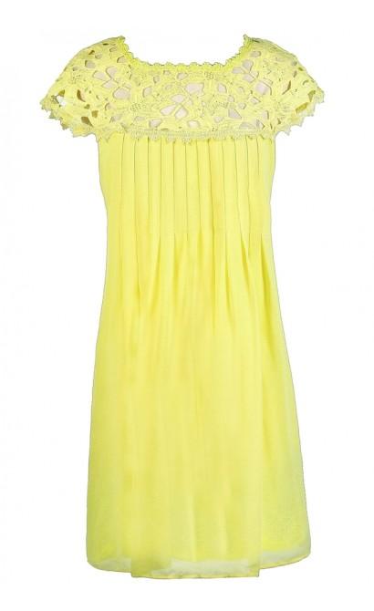 Bright Yellow Dress, Yellow Lace Dress, Yellow A-Line Dress, Yellow Party Dress, Yellow Summer Dress, Bright Yellow A-Line Party Dress