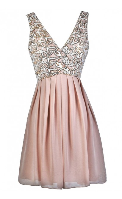 Beige Sequin Dress, Gold Sequin Dress, Beige and Gold Party Dress, Taupe and Gold Sequin Party Dress, Cute Party Dress