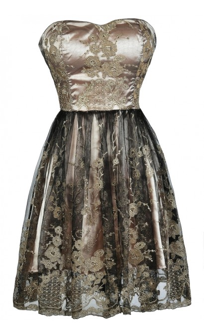 Black and Gold A-Line Dress, Black and Gold Party Dress, Black and Gold Embroidered Dress, Black and Gold Cocktail Dress, Metallic Embroidered Dress, Cute Party Dress, Cute Black and Gold Dress