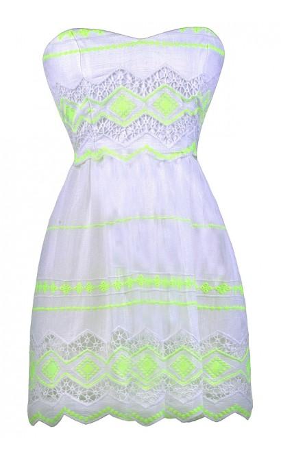 Off White Summer Dress, Neon Yellow Sundress, Neon Lime Sundress, Off White Yellow Summer Dress, Cute Summer Dress, Cute A-Line Dress, Off White A-Line Dress, Off White Sundress