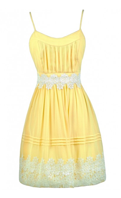 Cute Yellow Dress, Yellow and Off White Dress, Yellow Party Dress, Yellow Sundress, Yellow A-Line Dress, Cute Yellow Dress