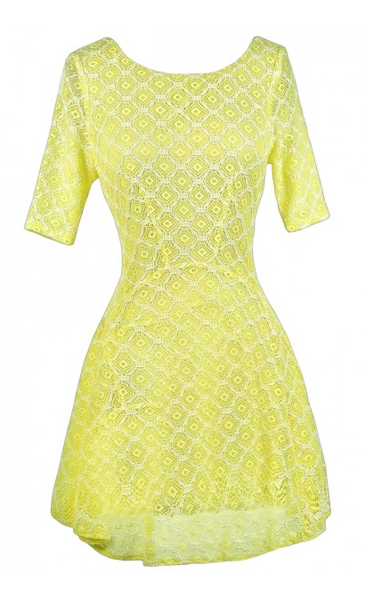 Yellow Lace Dress, Yellow Lace Summer Dress, Neon Lace Dress, Neon Yellow Dress, Yellow Lace Skater Dress, Cute Summer Dress, Cute Party Dress, Lace Summer Dress, Yellow Summer A-Line Dress