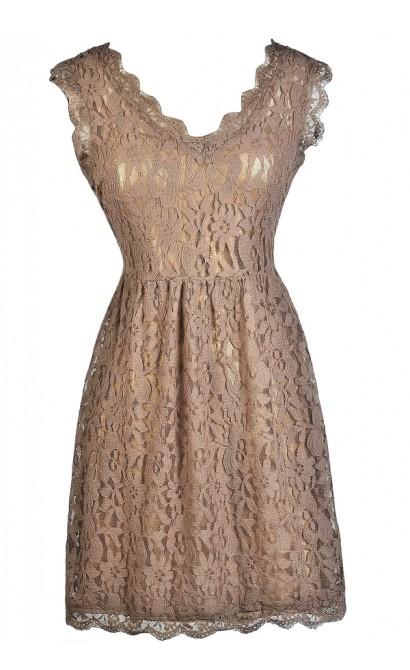 Mocha Lace Dress, Taupe Lace Dress, Brown Lace Dress, Mocha Lace A-Line Dress, Mocha Party Dress, Mocha Summer Dress, Mocha Cocktail Dress, Light Brown Lace Dress, Taupe Lace Summer Dress
