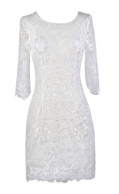 Off White Lace Dress, Cute Rehearsal Dinner Dress, Cute Bridal Shower Dress, Off White Lace Three Quarter Sleeve Dress, Ivory Lace Dress, Three Quarter Sleeve Lace Sheath Dress
