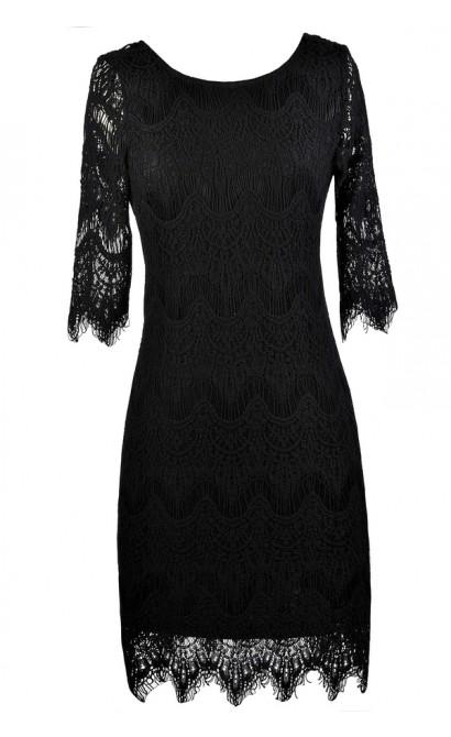 Black Lace Dress, Little Black Dress, Cute Black Dress, Black Party Dress, Black Cocktail Dress, Black Lace Sheath Dress, Black Lace Pencil Dress