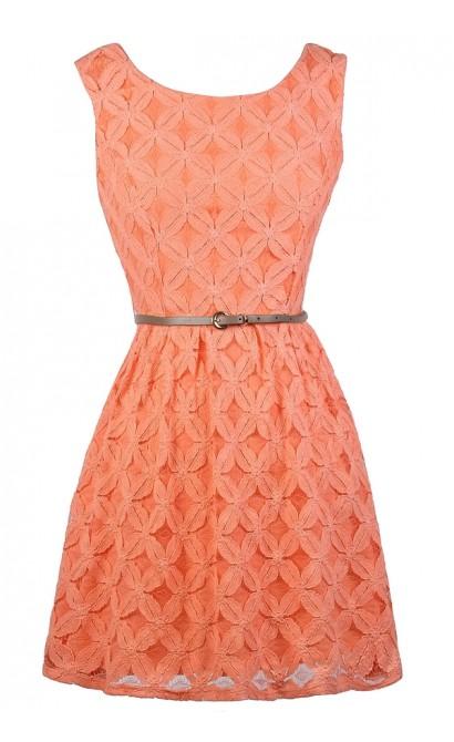 Orange Peach Lace A-Line Dress, Cute Orange Peach Lace Dress, Orange Peach Belted Lace Dress
