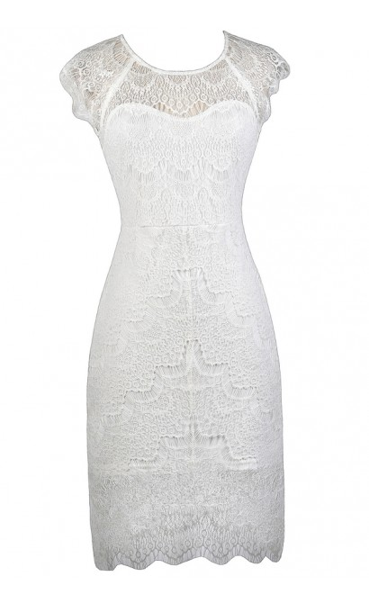 White Lace Sheath Dress, White Lace Rehearsal Dinner Dress, White Lace Bridal Shower Dress, White Lace High Low Dress, White Lace Cocktail Dress