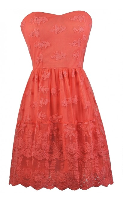 Cute Coral Pink Embroidered Dress, Coral Pink Strapless Party Dress, Coral Pink Cocktail Dress, Coral Pink Embroidered Sundress