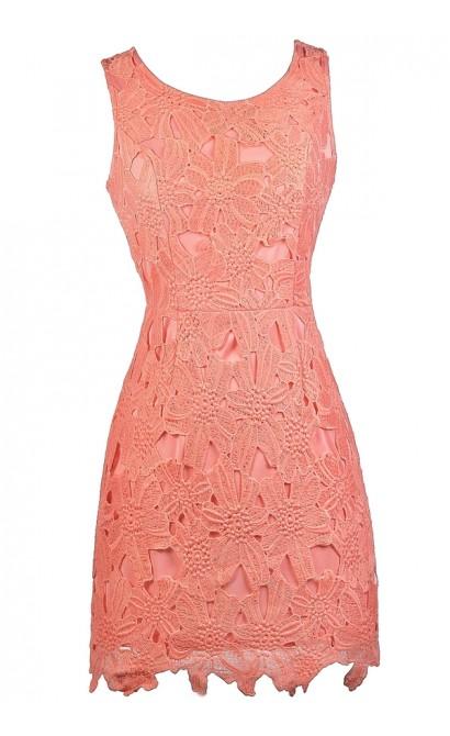 Peachy Pink Lace Sheath Dress, Peach Lace Bridesmaid Dress, Cute Pink Dress, Peach Lace Dress