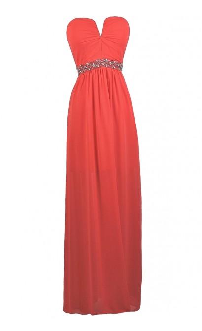 Coral V Dip maxi dress, Cute Coral Prom Dress, Coral Strapless Maxi Dress, Coral beaded Maxi Dress