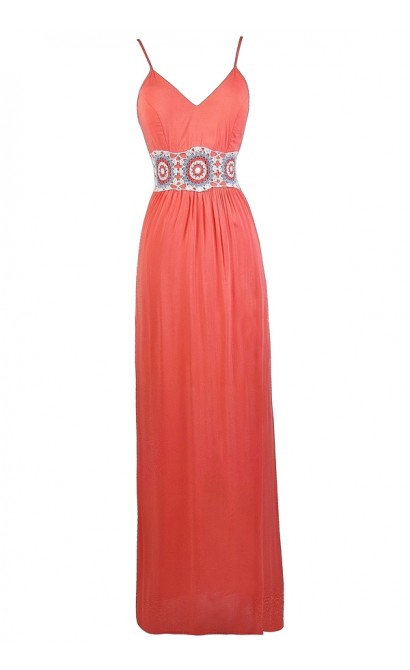 Coral Pink Maxi Dress, Embroidered Coral Pink Maxi Dress, Boho Embroidered Maxi Dress, Cute Summer Maxi Dress