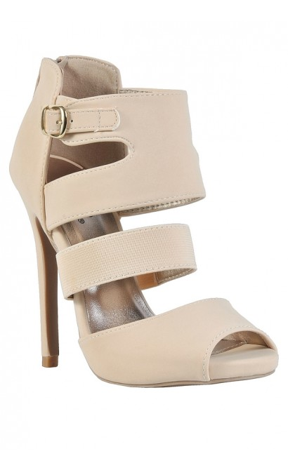 Beige Bootie Sandals, Beige Open Sandal, Beige Cage Sandal, Cute Beige Heels