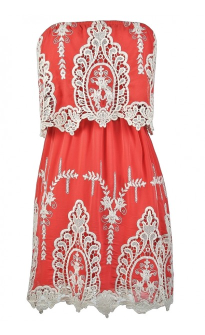 Cute Coral Dress, Coral and Ivory Dress, Coral Embroidered Dress, Coral Sundress, Coral Summer Dress