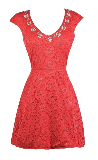 Coral Lace A-Line Dress, Cute Coral Dress, Coral Lace Party Dress, Coral Embellished Dress