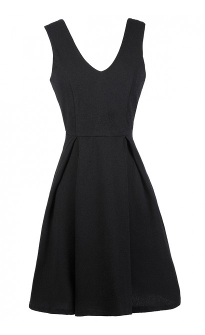 Black A-Line Dress, Little Black Dress, Black Sundress, Black Party Dress, Black Cocktail Dress