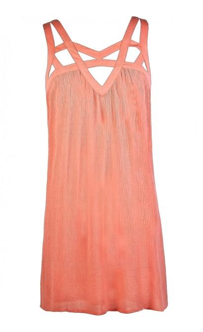 Cute Summer Dress, Pink Summer Dress, Pink Cutout Dress, Pink Trapeze Dress, Cute Hippie Dress, Cute Boutique Dress, Cute Boho Dress, Cutout Neckline Dress