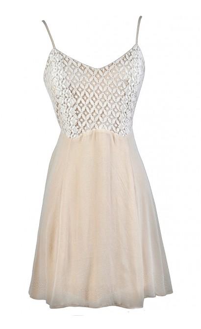 Cute Beige Dress, Beige Lace Dress, Beige Summer Dress, Beige Party Dress, Beige A-Line Dress, Cute Boho Dress, Cute Hippie Dress, Cute Party Dress