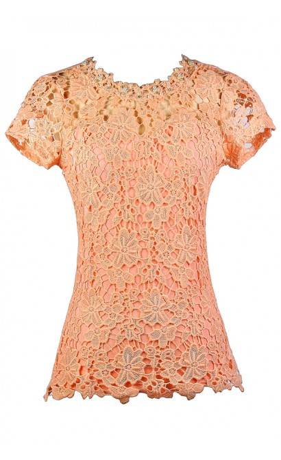 Peach Lace Top, Cute Lace Top, Lace Summer Top, Lace Capsleeve Top, Pearl Lace Top, Peach Orange Peach Lace Top