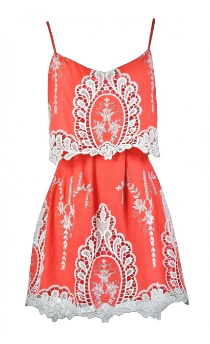 Cute Coral Dress, Coral Summer Dress, Coral and Beige Dress, Coral and Beige Embroidered Dress