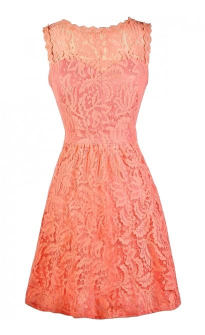 Cute Lace Dress, Coral Lace Bridesmaid Dress, Coral Bridesmaid Dress, Coral Lace A-Line Dress, Coral Lace Summer Dress, Coral Lace Party Dress, Coral Cocktail Dress