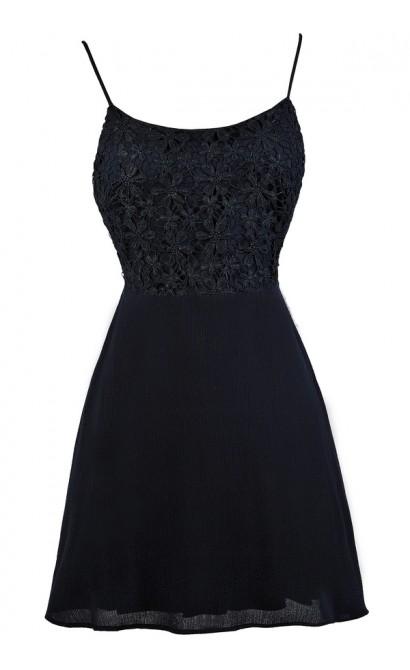 Navy Sundress, Cute Navy Dress, Navy Summer Dress, Navy Tie Back Dress, Navy Lace Dress, Navy Lace A-Line Dress, Navy Lace Tie Back Dress, Navy Party Dress