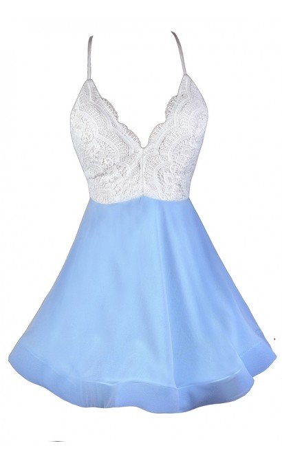 Sky Blue and White Dress, Sky Blue Cocktail Dress, Pale Blue Sundress, Pale Blue and White A-Line Dress, Pale Blue Party Dress, Sky Blue Summer Dress, Light Blue Fit and Flare Dress, Blue and White Summer Dress