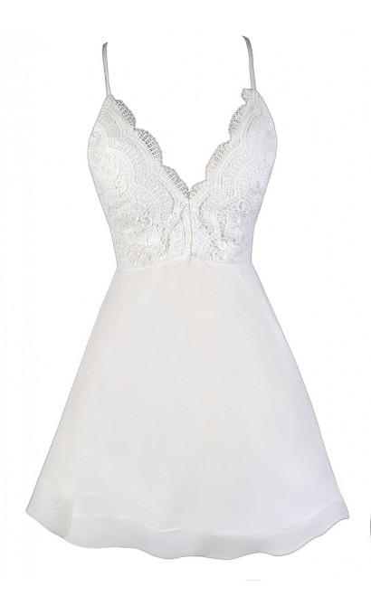 White Summer Dress, Cute White Dress, White Lace Dress, Little White Dress, White Party Dress, White Cocktail Dress, Structured Hemline Dress, Flouncy White Dress, White A-Line Dress