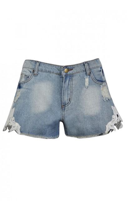 Cute Jean Shorts, Cute Denim Shorts, Crochet Lace Jean Shorts, Lace Side Denim Shorts, Cute Summer Shorts, Cutoff Denim Shorts