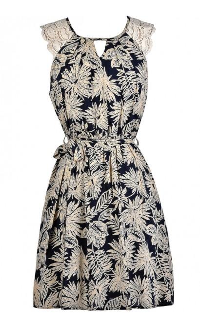 Cute Printed Dress, Navy and Beige Printed Dress, Palm Branch Printed Dress, Navy Sundress, Cute Summer Dress, Navy and Beige Sundress, Palm Branch Dress