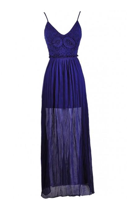 Royal Blue Maxi Dress, Bright Blue Maxi Dress, Open Back Maxi Dress, Bright Blue Lace Maxi Dress, Cute Summer Dress, Summer Maxi Dress, Blue Crochet Lace Maxi Dress, Boho Lace Maxi Dress, Bohemian Maxi Dress