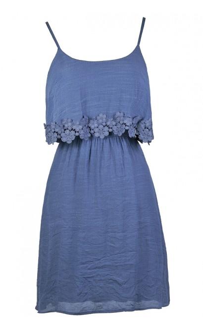 Dusty Blue Dress, Dusty Blue Crochet Trim Dress, Blue Flutter Top Dress, Cute Country Dress, Light Blue Sundress, Dusty Blue Summer Dress