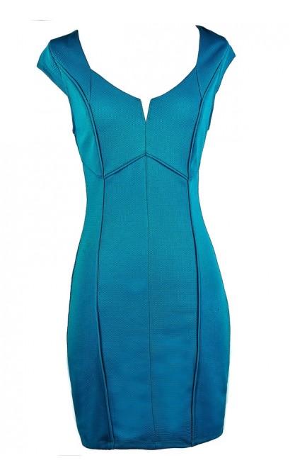 Teal Blue Pencil Dress, Teal Capsleeve Dress, Turquoise Blue Dress, Summer Pencil Dress