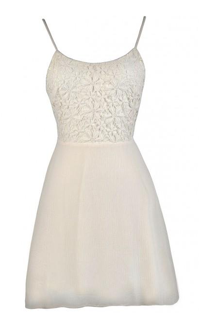 Beige Tie Back Lace Dress, Off White Tie Back Lace Dress, Beige Lace Sundress, Off White Lace Sundress, Beige Lace Summer Dress, Off White Lace Summer Dress, Beige Party Dress, Off White Party Dress