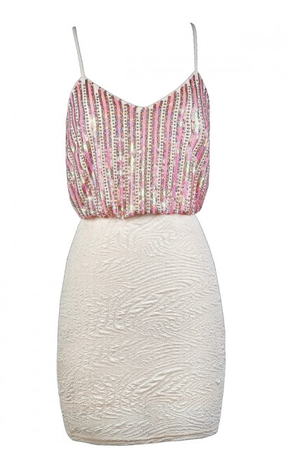 Pink and Ivory Sequin Dress, Pink Sequin Party Dress, Pink and Ivory Bodycon Dress, Pink Embellished Dress