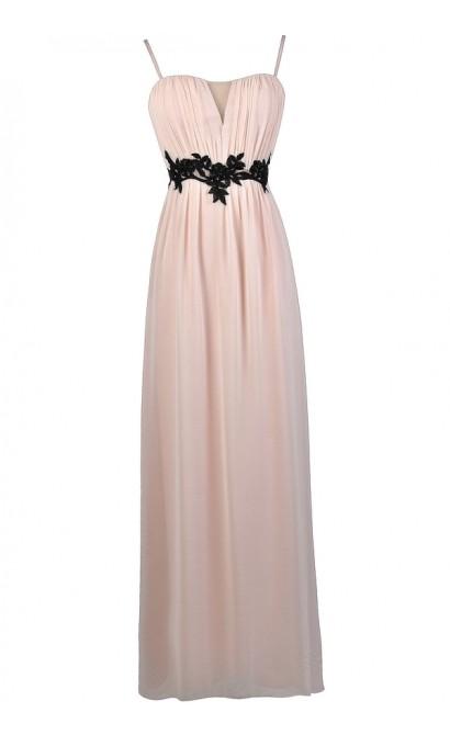 Pale Pink Maxi Dress, Pink and Black Maxi Dress, Cute Pink and Black Dress, Pink and Black Prom Dress, Cute Pink Bridesmaid Dress