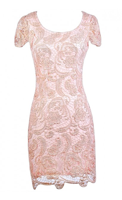 Cute Pink Lace Dress, Pink and Gold Lace Dress, Pink Lace Pencil Dress, Pink Capsleeve Dress, Cute Pink Dress, Pink and Gold Lace Dress
