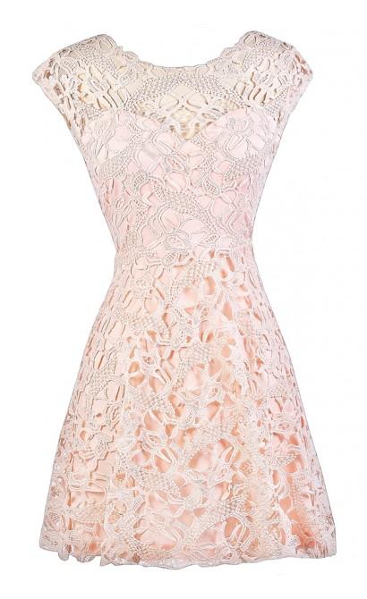 Pink Lace Dress, Light Pink Lace Dress, Pale Pink Lace Dress, Light Pink Lace Party Dress