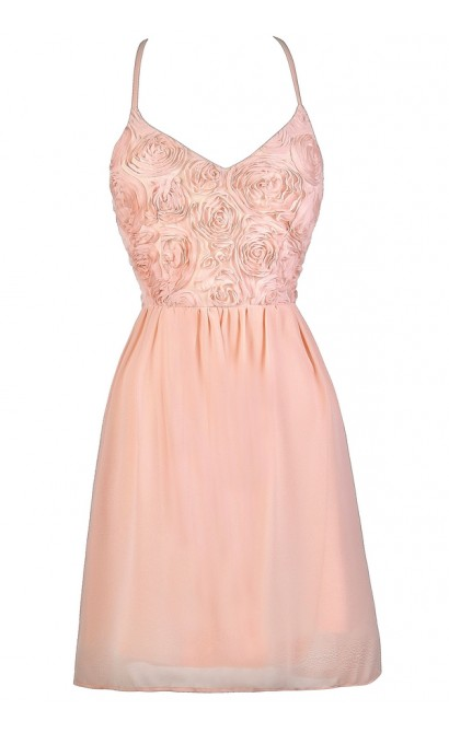 Pale Pink Dress, Pink Party Dress, Blush Pink Dress, Light Pink Dress, Pink Rosette Dress