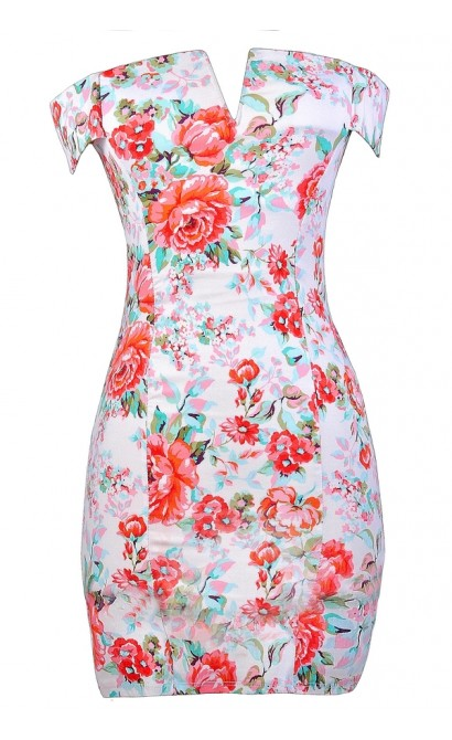 Red Coral and Teal Floral Print Dress, Floral Print Off Shoulder Party Dress, Floral Print Off Shoulder Pencil Dress, Teal and Coral Floral Print Dress